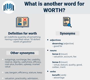 worth, synonym worth, another word for worth, words like worth, thesaurus worth