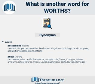 worths, synonym worths, another word for worths, words like worths, thesaurus worths