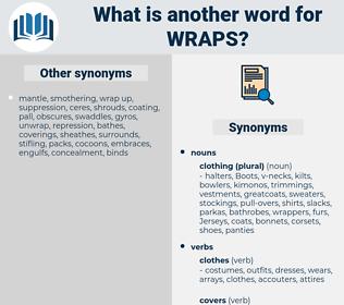 wraps, synonym wraps, another word for wraps, words like wraps, thesaurus wraps