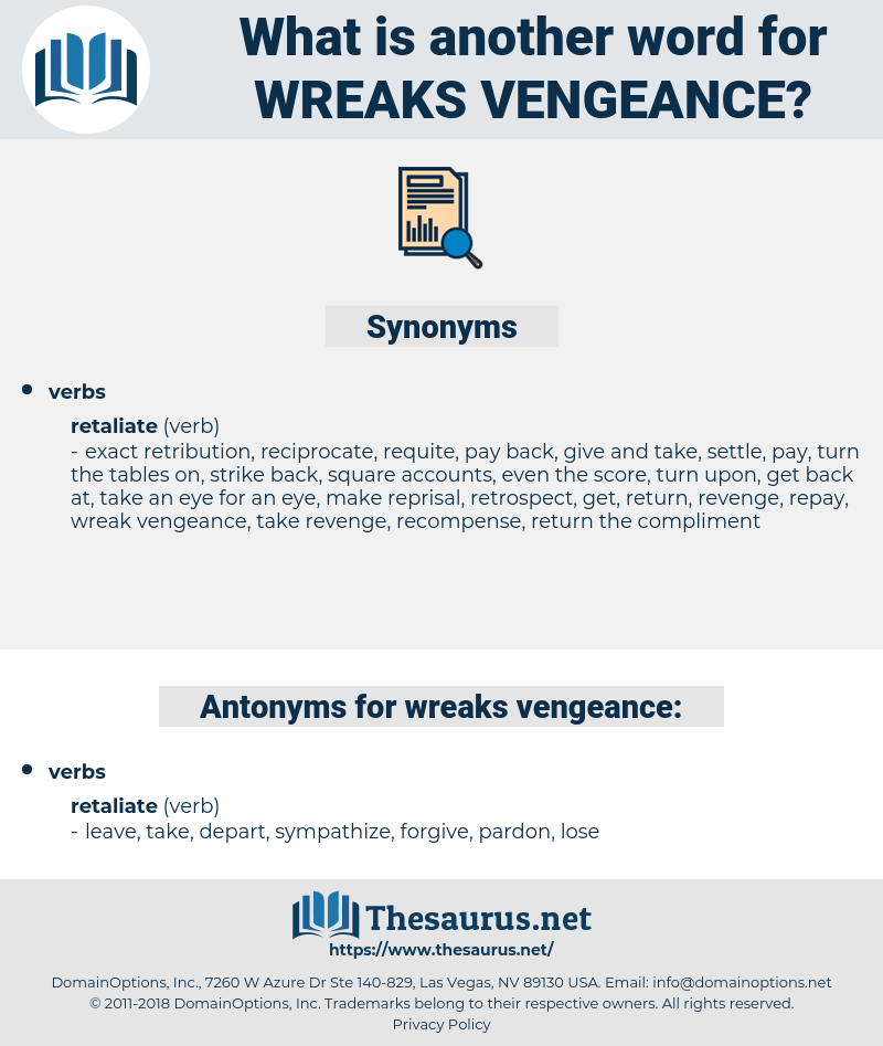 wreaks vengeance, synonym wreaks vengeance, another word for wreaks vengeance, words like wreaks vengeance, thesaurus wreaks vengeance