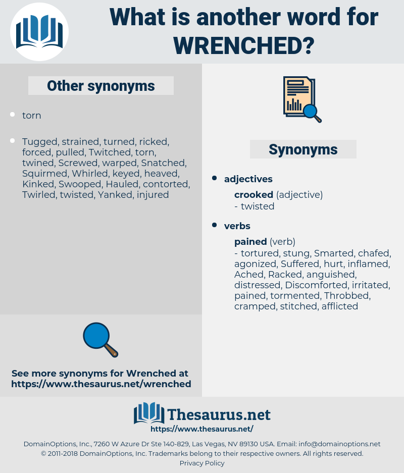 Wrenched, synonym Wrenched, another word for Wrenched, words like Wrenched, thesaurus Wrenched