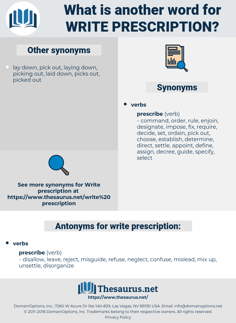 write prescription, synonym write prescription, another word for write prescription, words like write prescription, thesaurus write prescription
