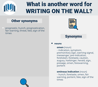 writing on the wall, synonym writing on the wall, another word for writing on the wall, words like writing on the wall, thesaurus writing on the wall