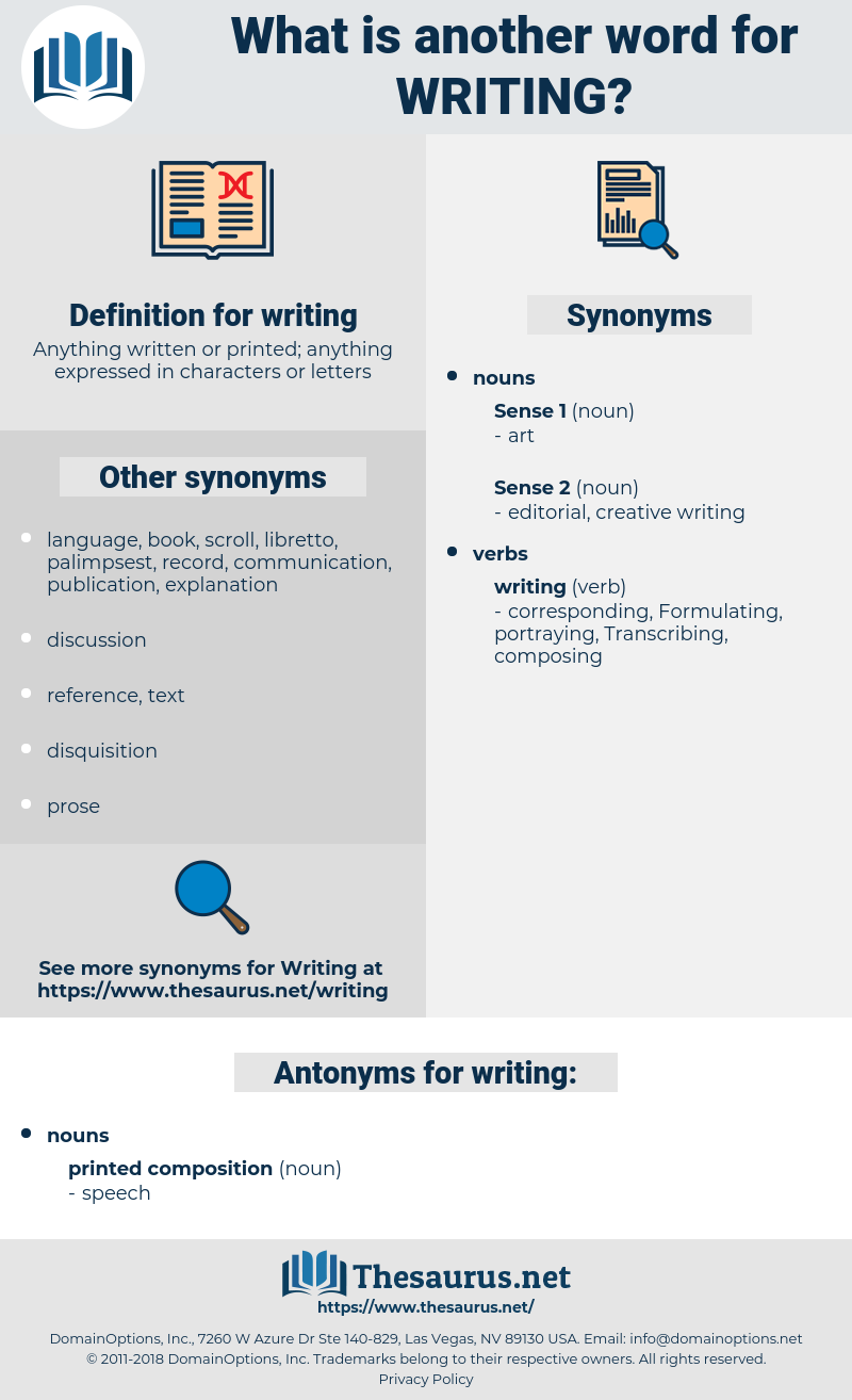 writing, synonym writing, another word for writing, words like writing, thesaurus writing