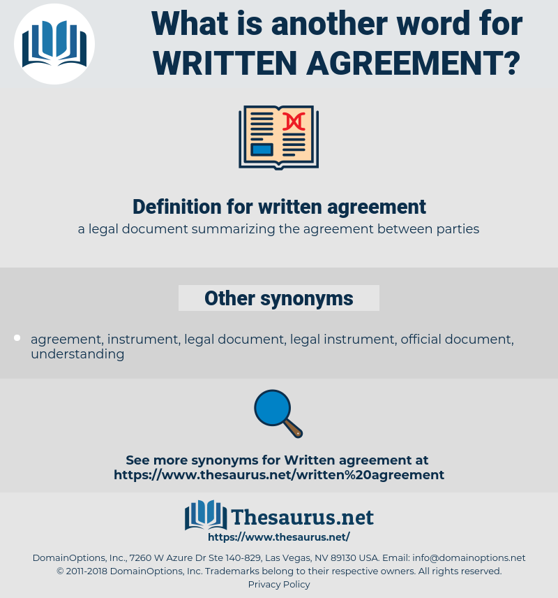 written agreement, synonym written agreement, another word for written agreement, words like written agreement, thesaurus written agreement