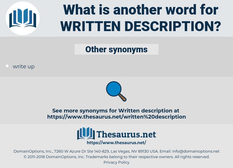 written description, synonym written description, another word for written description, words like written description, thesaurus written description