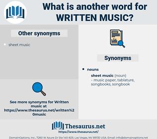written music, synonym written music, another word for written music, words like written music, thesaurus written music