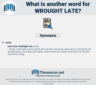 wrought late, synonym wrought late, another word for wrought late, words like wrought late, thesaurus wrought late