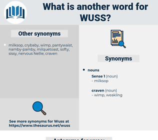 wuss, synonym wuss, another word for wuss, words like wuss, thesaurus wuss