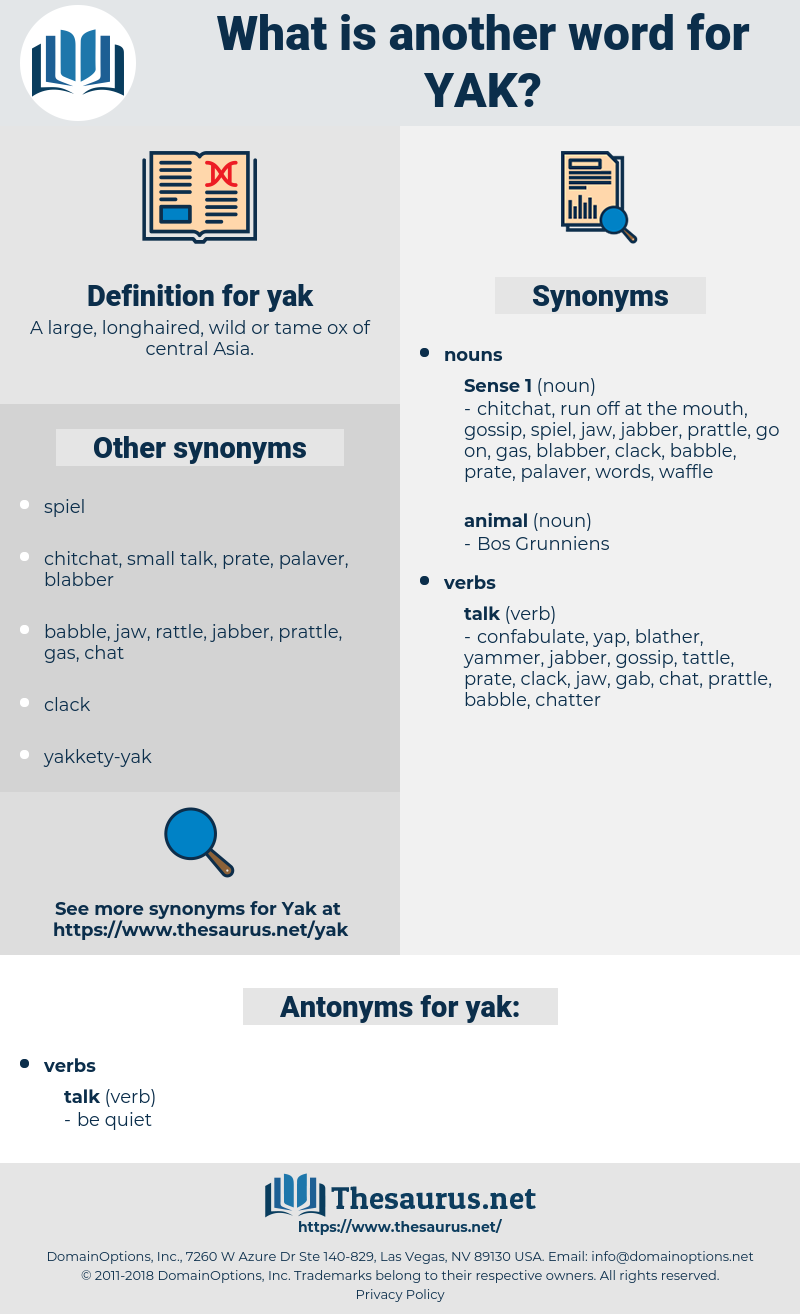 yak, synonym yak, another word for yak, words like yak, thesaurus yak