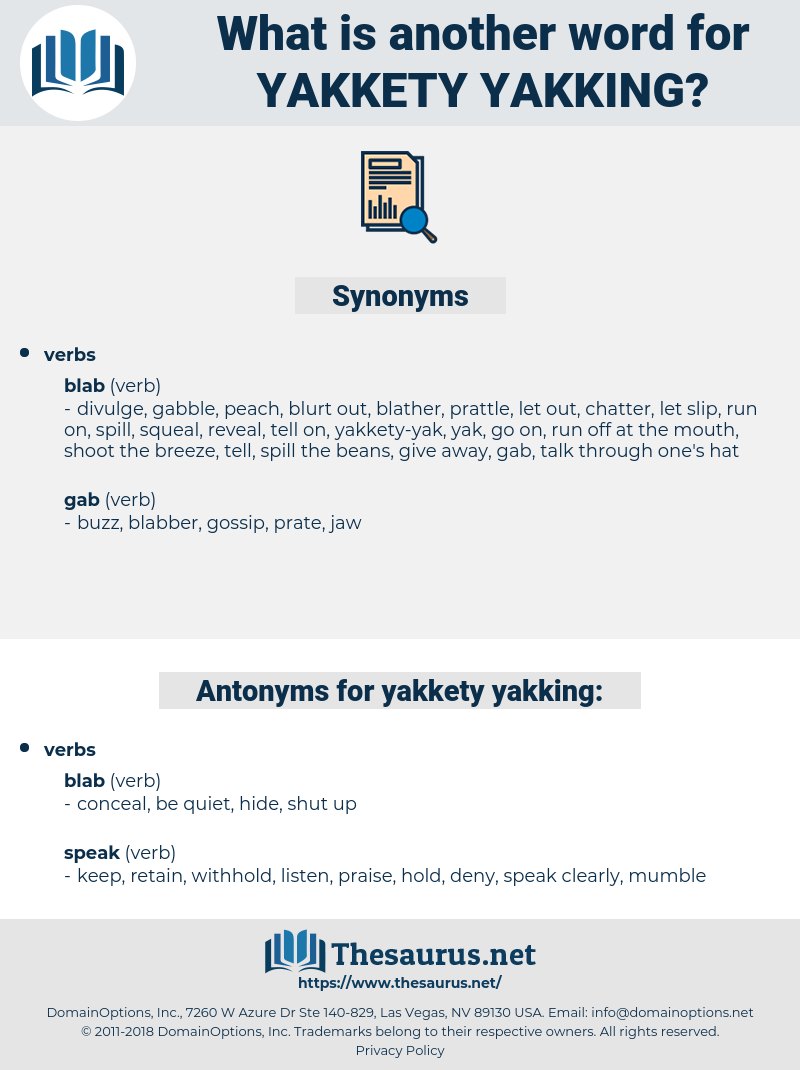 yakkety-yakking, synonym yakkety-yakking, another word for yakkety-yakking, words like yakkety-yakking, thesaurus yakkety-yakking
