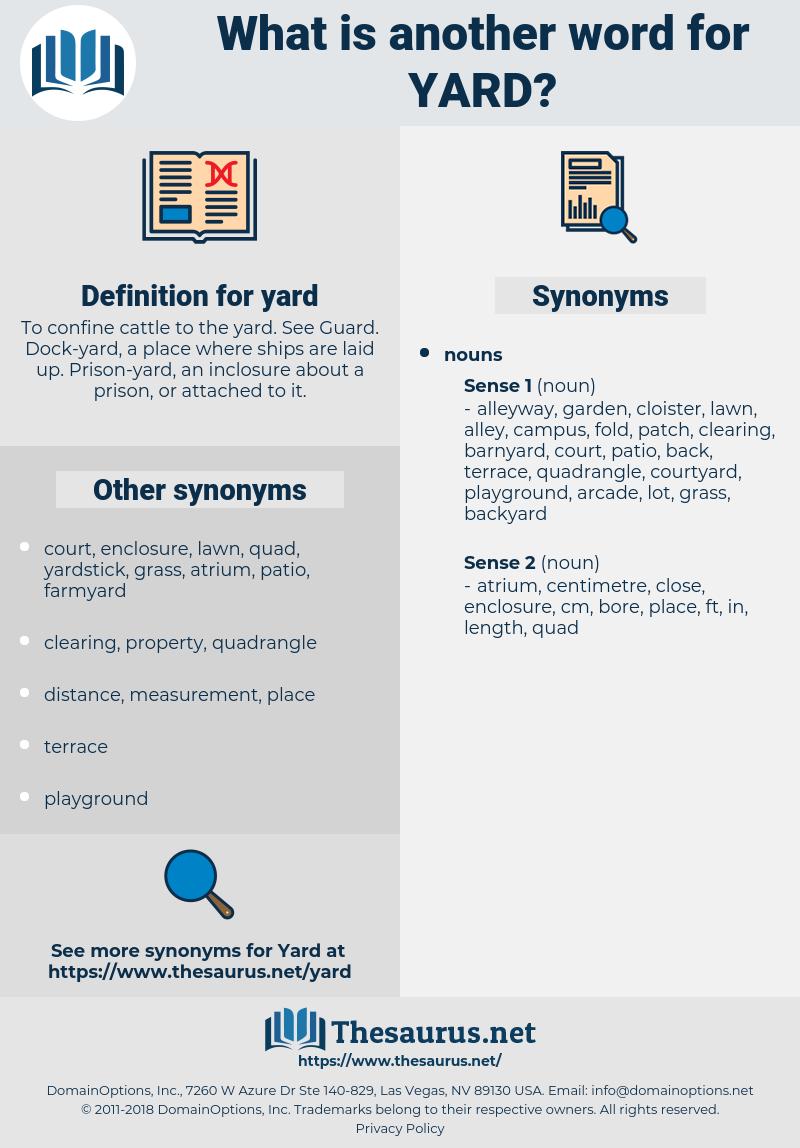 yard, synonym yard, another word for yard, words like yard, thesaurus yard