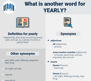 yearly, synonym yearly, another word for yearly, words like yearly, thesaurus yearly