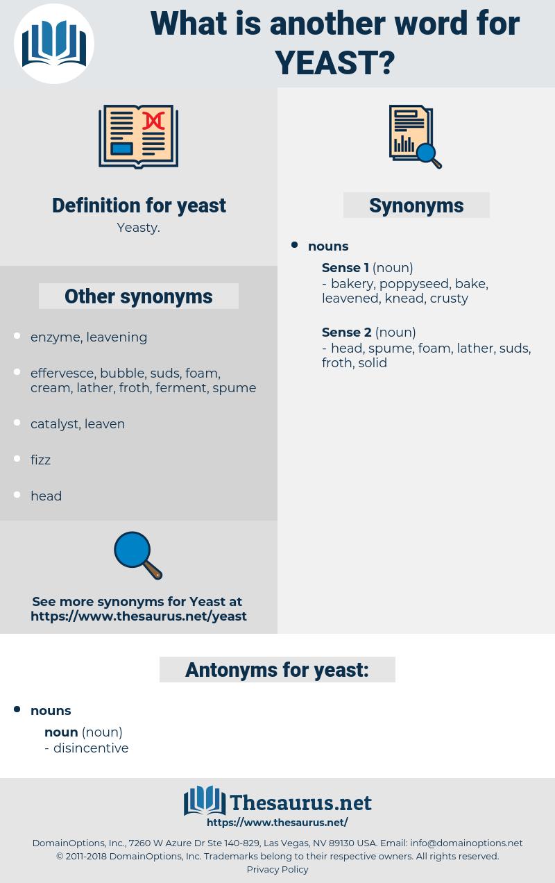 yeast, synonym yeast, another word for yeast, words like yeast, thesaurus yeast
