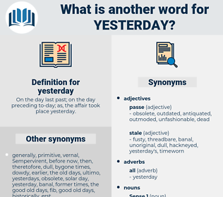 yesterday, synonym yesterday, another word for yesterday, words like yesterday, thesaurus yesterday