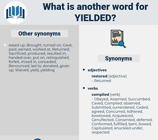Yielded, synonym Yielded, another word for Yielded, words like Yielded, thesaurus Yielded