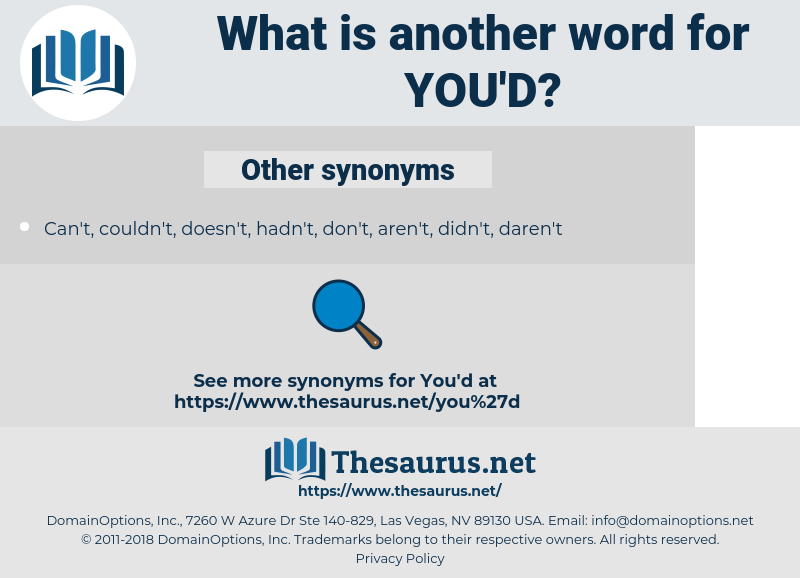 you'd, synonym you'd, another word for you'd, words like you'd, thesaurus you'd