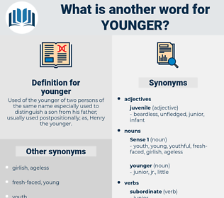 younger, synonym younger, another word for younger, words like younger, thesaurus younger