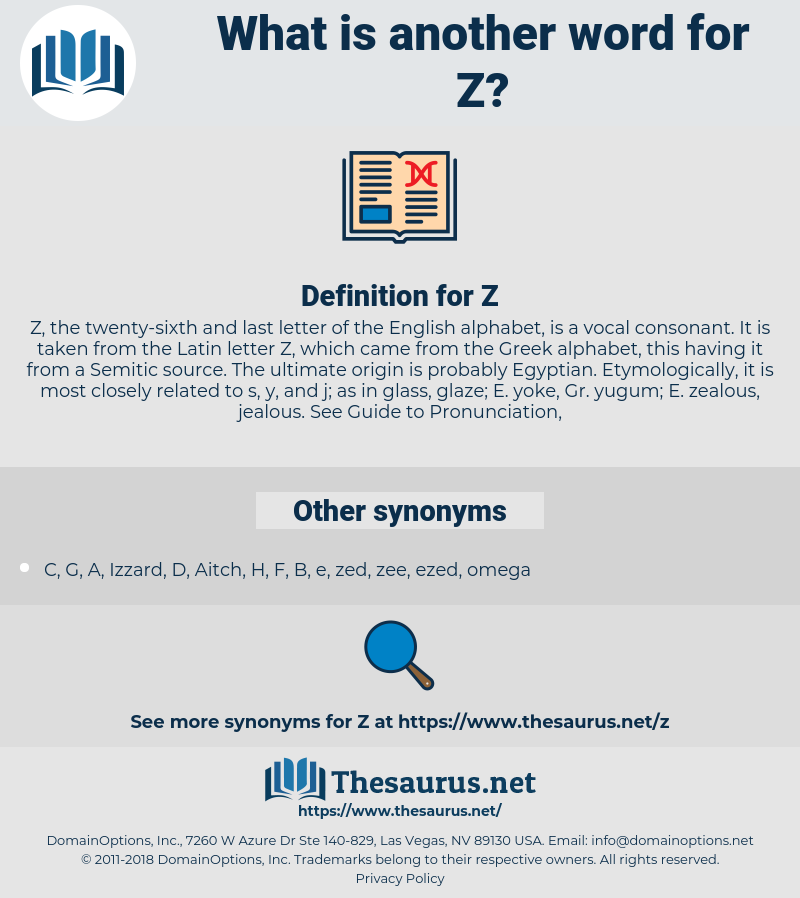 Synonyms for Z - Thesaurus net