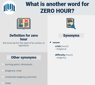 zero hour, synonym zero hour, another word for zero hour, words like zero hour, thesaurus zero hour