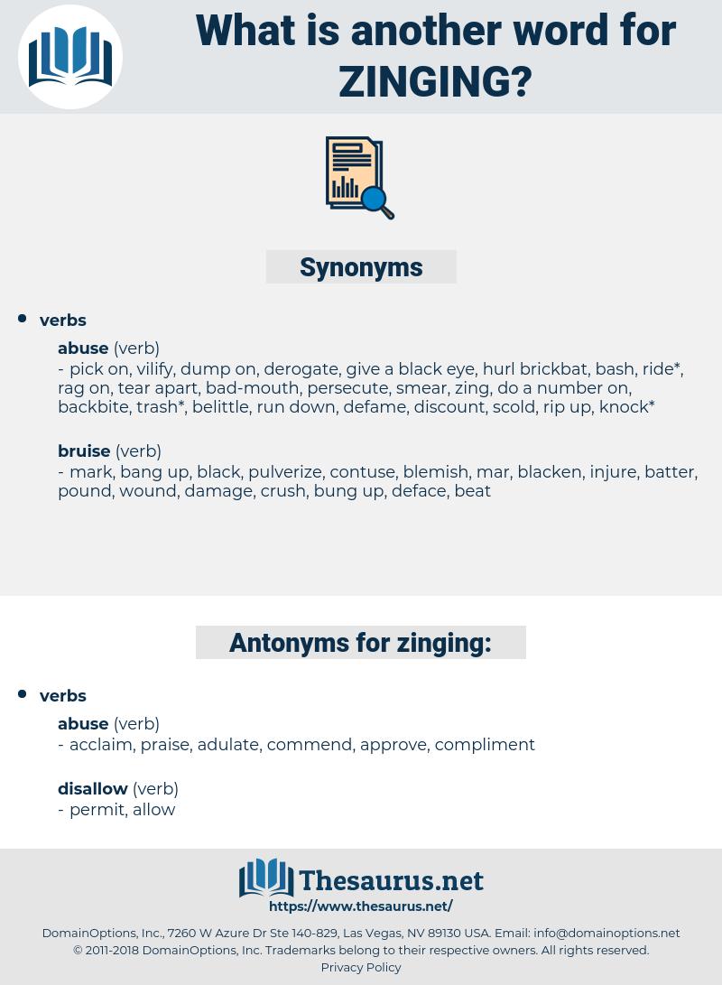 zinging, synonym zinging, another word for zinging, words like zinging, thesaurus zinging