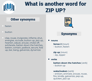zip up, synonym zip up, another word for zip up, words like zip up, thesaurus zip up