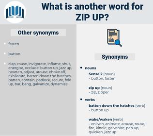 zip up, synonym zip up, another word for zip up, words like zip up, thesaurus zip up