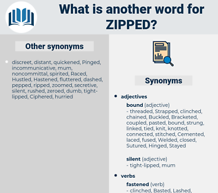 zipped, synonym zipped, another word for zipped, words like zipped, thesaurus zipped