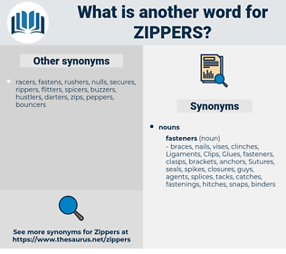 zippers, synonym zippers, another word for zippers, words like zippers, thesaurus zippers